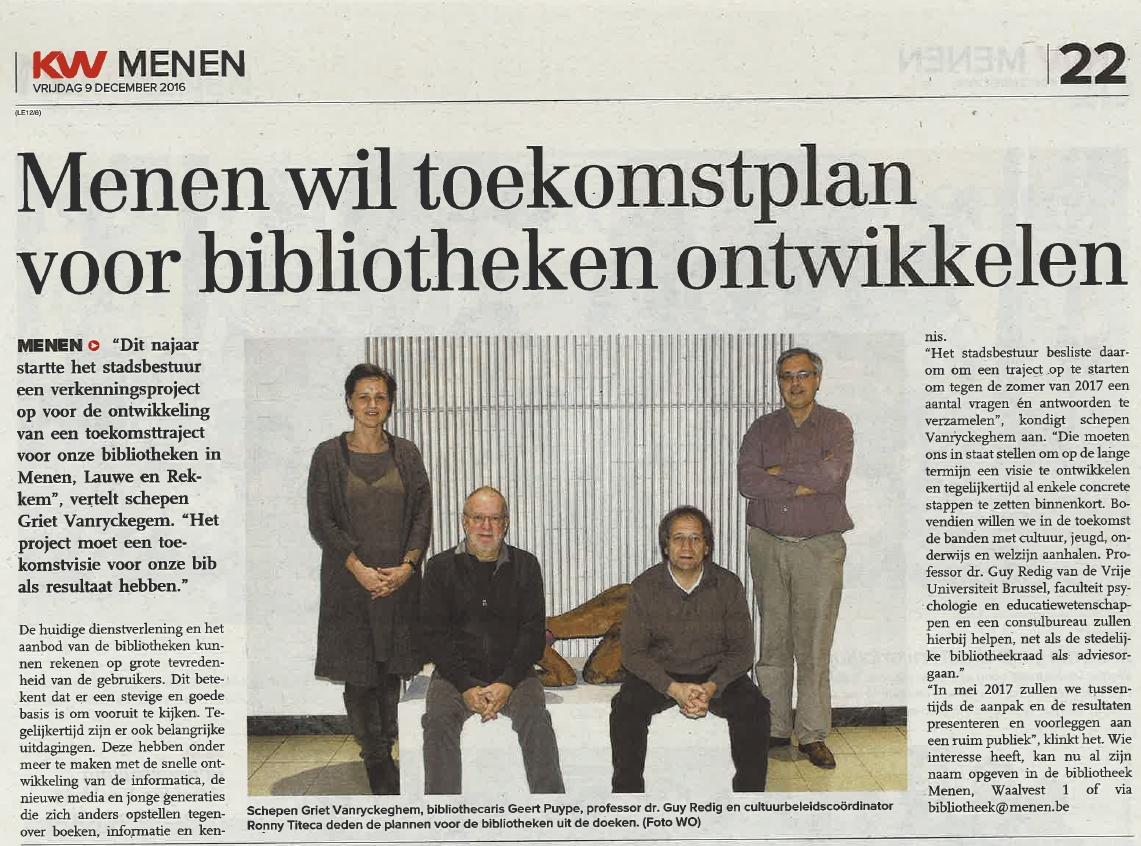 Menen wil toekomstplan voor bibliotheken ontwikkelen