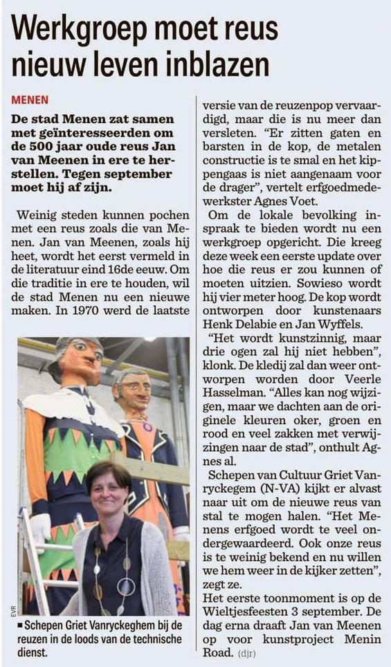 Werkgroep moet reus nieuw leven inblazen - Griet Vanryckeghem