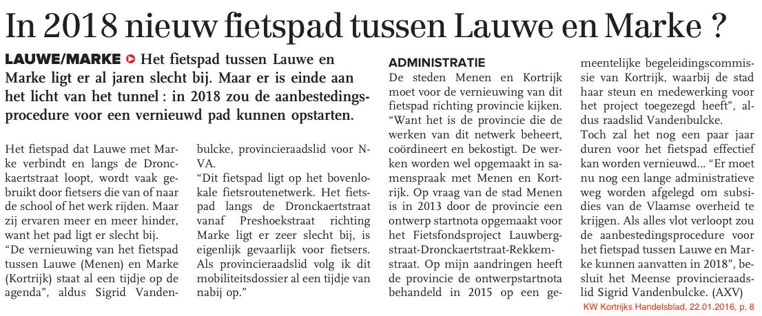 KW Kortrijks Handelsblad, 22.01.2016