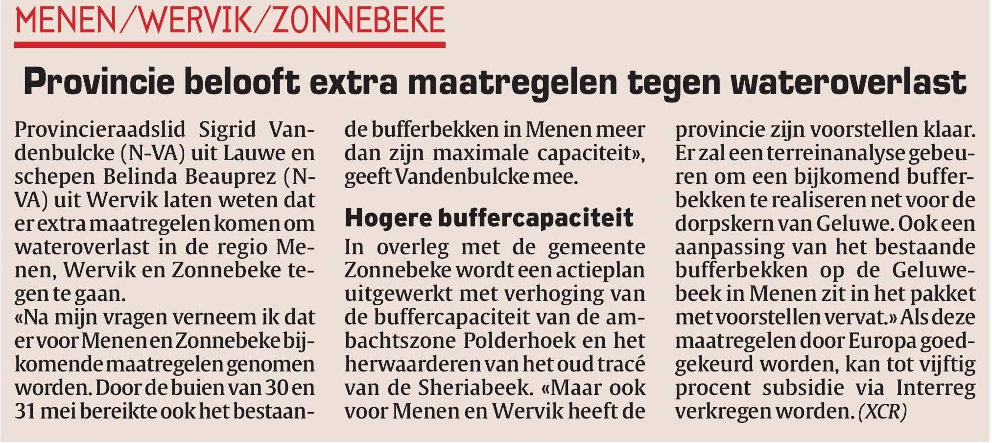 Extra investeringen tegen wateroverlast in Menen